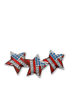 Kim Rogers Silver-Tone USA Triple Star Boxed Pin