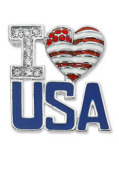Kim Rogers Silver-Tone I Love USA Boxed Pin