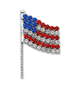 Kim Rogers Silver-Tone Crystal Flag Boxed Pin