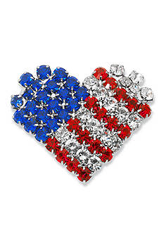 Kim Rogers Silver-Tone Crystal Flag Heart Boxed Pin