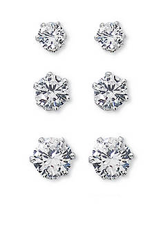 Kim Rogers Silver-Tone Trio Stud Earrings Set