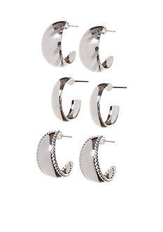Kim Rogers Silver Plated Trio Small Hoop Earrings Set