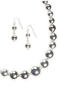 Kim Rogers Silver Graduated Bead Necklace & Earring Set