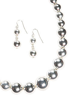 Kim Rogers Silver-Tone Graduated Bead Necklace & Earring Set