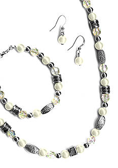 Kim Rogers 3-Piece Set Pearl and Clear Facet Beads
