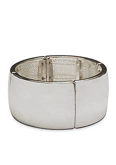 Kim Rogers Silver-Tone Curved Rectangle Bangle Stretch Bracelet