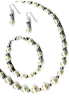 Kim Rogers® Graduated Pearl Neck, Bracelet And Earrings Set
