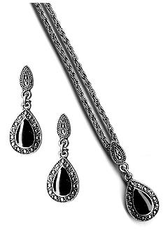 Kim Rogers Faux Marcasite Inspired Jet Pendant And Earrings Set