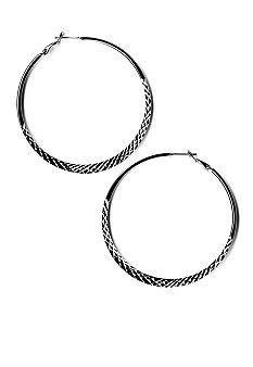 Kim Rogers Diamond Cut Textured Hoop Earrings