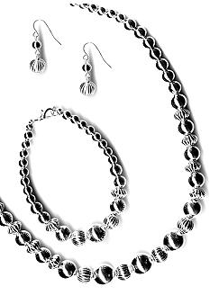 Kim Rogers Graduated Textured Beads Necklace, Bracelet And Earrings Set