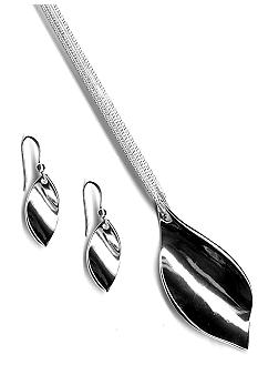 Kim Rogers Polished Leaf Pendant And Earrings Set