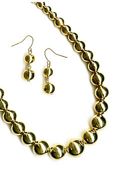 Kim Rogers® Jewelry Set - Polished Graduated Beads Necklace and Earrings