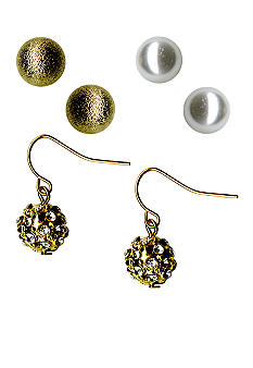 Kim Rogers Ball, Pearl, Stone Drop Trio Earrings Set