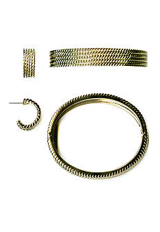 Kim Rogers Boxed Rope Textured Bangle And Earring Set