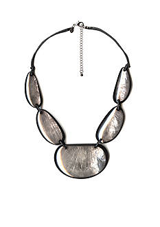 Kim Rogers Silver-Tone Gray Glam Satement Necklace