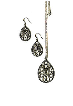 Kim Rogers Boxed Pear Shaped Filigree Pendant and Earring Set