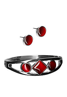 Kim Rogers® Red Cat Eye Bangle And Earrings Set