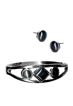 Kim Rogers® Bangle With Jet Cabs And Earrings Set
