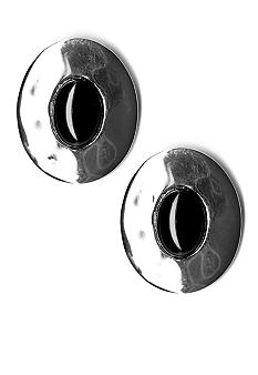 Kim Rogers® Earring - Oval Button With Jet Cab