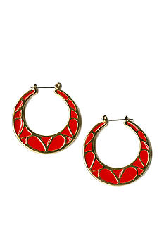 Kim Rogers Red Enamel Hoop Earrings