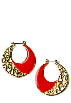 Kim Rogers Red Enamel Openwork Hoop Earrings