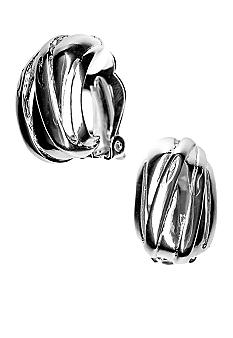 Kim Rogers Polished Twist Design Button Clip Earrings