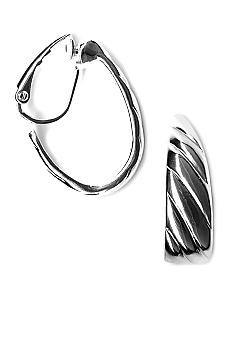 Kim Rogers Silver-tone Tapered Clip Hoop Earrings