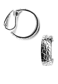 Kim Rogers Textured Design Clip Hugger Hoop Earrings