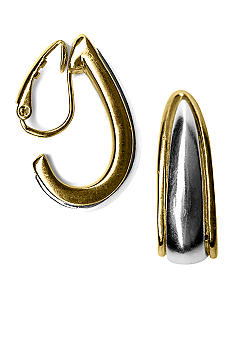 Kim Rogers Two-tone Tapered Clip Hoop Earrings