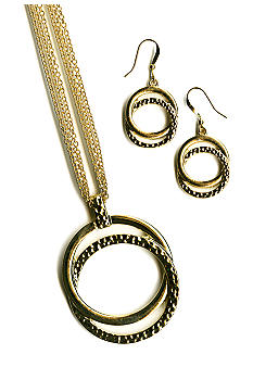 Kim Rogers Boxed Double Circle Drop on Chain with Earrings