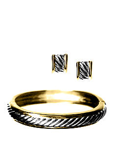 Kim Rogers Boxed Two-tone Bangle And Earrings Set