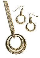 Kim Rogers® Boxed Double Circle Pendant with Stone Drop Earrings