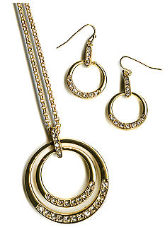 Kim Rogers Boxed Double Circle Pendant with Stone Drop Earrings
