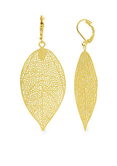 Kim Rogers Gold-Tone Etched Leaf Drop Earring
