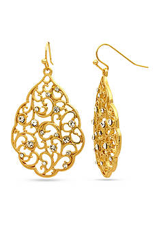 Kim Rogers Gold-Tone Scalloped Edge Filigree Drop Earring