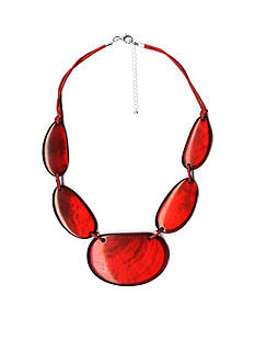 Kim Rogers Silver-Tone Red Glam Statement Necklace