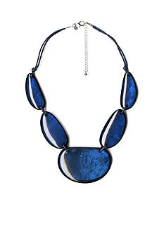 Kim Rogers Silver-Tone Blue Glam Statement Necklace