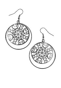 Kim Rogers® Loop And Filigree Disc Drop Earrings