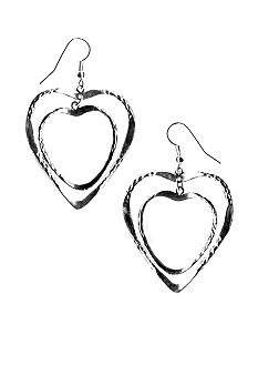 Kim Rogers Textured Double Heart Drop Earrings