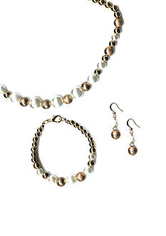 Kim Rogers Gold-Tone Boxed Pearl Necklace, Bracelet and Earring Set