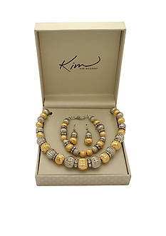 Kim Rogers Boxed Two-Tone Fluted Bead Necklace, Bracelet and Earring Set
