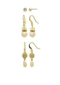 Kim Rogers Gold-Tone and Pearl Stud and Drop Trio Earrings Set