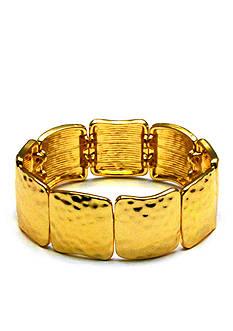 Kim Rogers Gold-Tone Hammered Squares Stretch Bracelet
