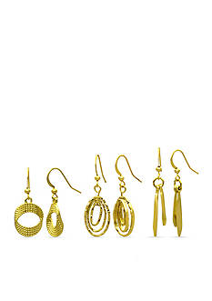 Kim Rogers Gold-Tone Textured Drop Trio Earrings Set