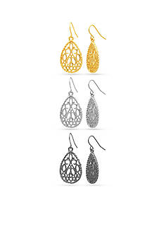 Kim Rogers Tri-Color Filigree in Gold-tone, Silver-tone and Hematite Trio Drop Earring Set
