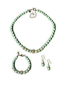 Kim Rogers Gold-Tone Green Crackle Bead Necklace, Bracelet and Earring Set