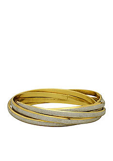 Kim Rogers Gold-Tone Glitter Interlocking Bangles Boxed Bracelet