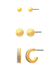 Kim Rogers Gold-tone Smooth Ball Stud, Textured Ball Stud and Hoop with Silver Glitter Center Trio Earring Set