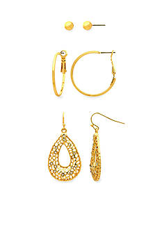 Kim Rogers Gold-tone Ball Stud, Clutchless Hoop and Filigree Open Teardrop with Crystal Stones Trio Earring Set