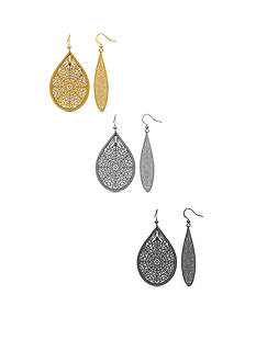 Kim Rogers Tri-Tone Filigree Teardrop Earring Set